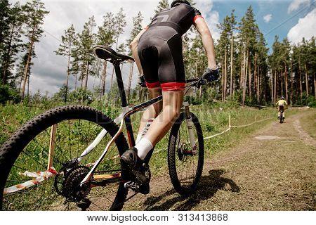 Back Athlete Mountain Biker Mountain Biking Uphill Trail On Mountainbike