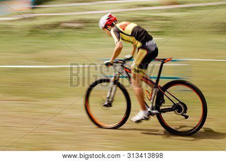 Man Mountainbiker Mountain Biking Cross Country Racing Motion Blur