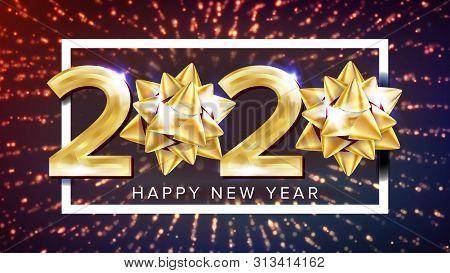 2020 Happy New Year Holiday Elegant Poster . Two Thousand Twenty 2020 Number White Frame Glistening