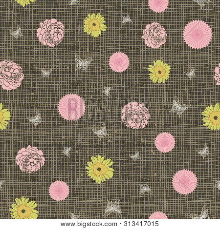 Flowers And Butterflies Print. Roses And Sunflowers On Burlap Background. Seamless Vector Design.