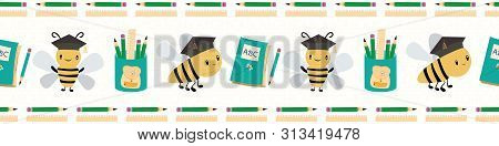 Cute Going Back To School Border With Bees, Books And Pencils. Seamless Vector Pattern On White Text