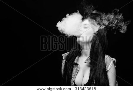 White Cloud Of Smoke. Vaping Is Sexy. Fashion Girl Vaping. Relaxing With Hookah. Nicotine Addiction.