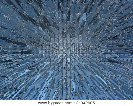 Blue abstract background with sharp thorns