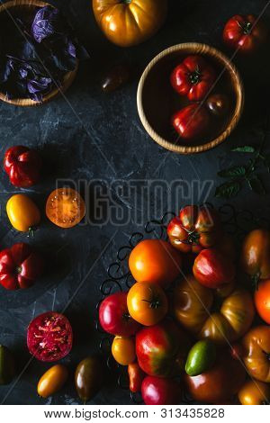 Composition With Delicious Tomatoes, Wooden Board And Products On Grey Background, Healthy Food, Veg