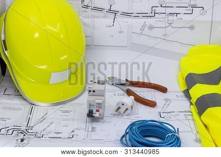 Electricity, Electrician Graphic Resource With Home Plan Safety Equipment And Electrical Equipment F