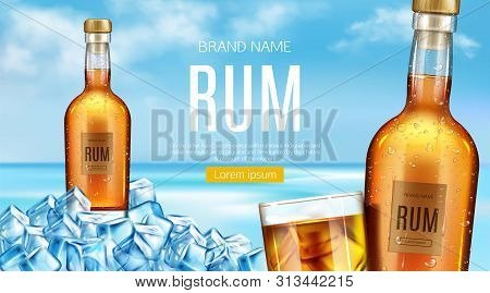 Rum Bottle And Glass Stand Of Heap Of Ice Cubes Mockup Banner. Closed Glass Flask With Cold Condensa
