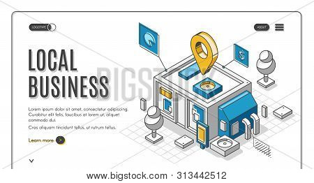Local Business Isometric Landing Page, Start Up Financing Support Service. Small Shop, Store Or Cafe