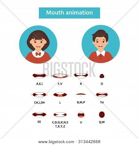 Mouth Animation. Girl And Boy Icon. Speaking Talking Mouth Vector Isolated Set. Phoneme Mouth Shapes
