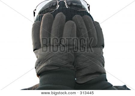 Gloves In Front Of Face