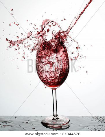 Red Wine Being Poured Into A Wine Glass From A Height