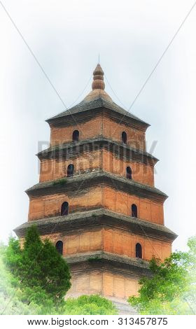 The Giant Wild Goose Pagoda Or Dayan Pagoda Located In Da Cien Temple Complex In Xian China On An Ov