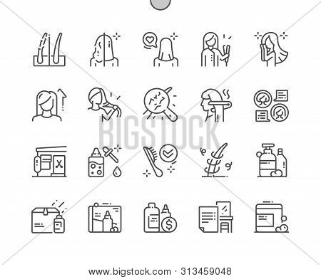 Keratin Hair Treatment Well-crafted Pixel Perfect Vector Thin Line Icons 30 2x Grid For Web Graphics