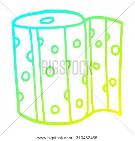 cold gradient line drawing of a cartoon dotty kitchen roll