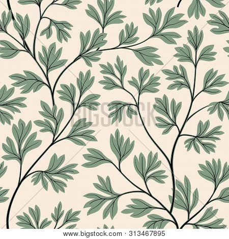 Floral Leaves Seamless Pattern. Graden Lush Leaf Branch Background.