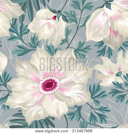 Floral Seamless Pattern. Graden Flower Bouquet Background.