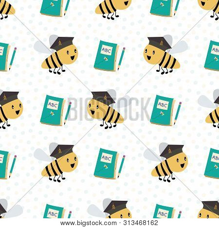 Cute Honey Bees With Books And Pencils Going Back To School. Seamless Vector Pattern On White Confet