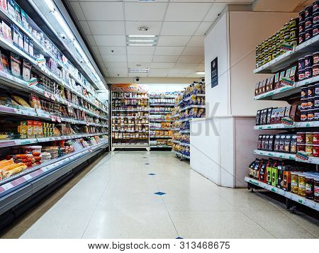 Paris, France - Jul 25, 2019: Large French Supermarket Hypermarket Interior With Selves Full With Fr