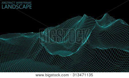 Vector Wireframe 3D Landscape. Technology Grid Illustration. Abstract Futuristic Background. Mountai