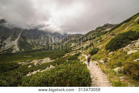 Mountain Hiking Trail. Mengusovska Valley, High Tatras, Slovakia