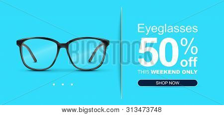 Eyeglasses Sale Banner Concept. Optical Glasses On Pastel Color Background.