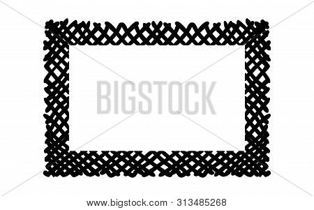 Scribble Hatching Criss Cross Along The Rim Frame Rectangle. Hand Drawn Symbols. Sketches Shaded And