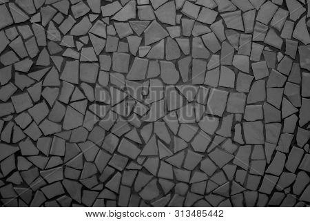 Broken Tiles Mosaic Seamless Pattern. Black Dark Tile Real Wall High Resolution Photo Or Brick Seaml