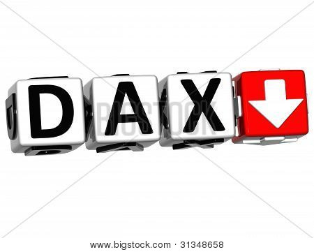 3D DAX Stock Market Block text on white background poster