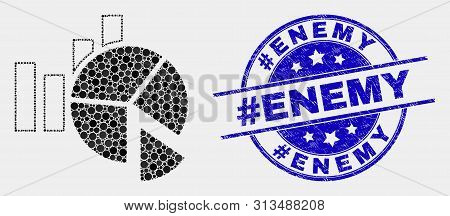 Dotted Statistics Charts Mosaic Pictogram And Hashtag Enemy Seal. Blue Vector Rounded Scratched Stam