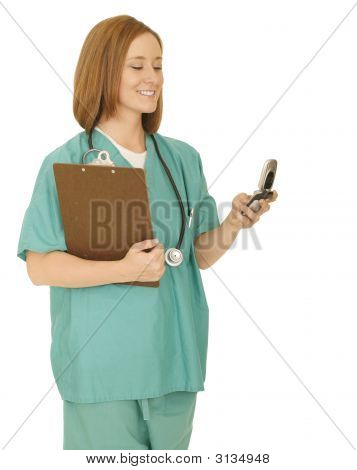 Nurse Checking Phone