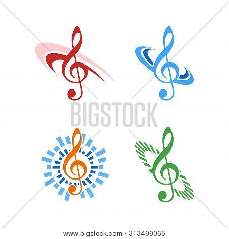 Music Notes Icon Logo Isolated On White Background, Music Logo For Musical Collection. Music Notes L