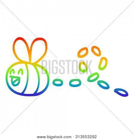 rainbow gradient line drawing of a cartoon buzzing bee