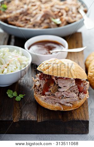 Pulled Pork Sandwich Served With Cole Slaw
