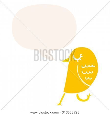 cartoon bird with speech bubble in retro style