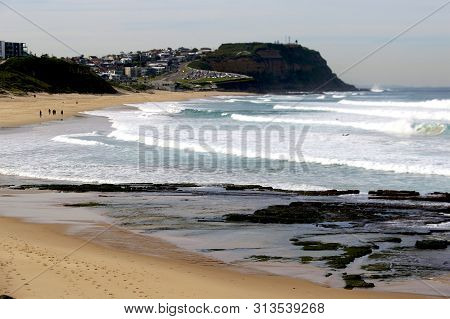 Merewether Beach Looking South In Newcastle, Nsw, Australia