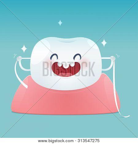 Cartoon Teeth With Dental Floss For Healthcare - Brushing Teeth Flossing, Dental Floss - Illustratio