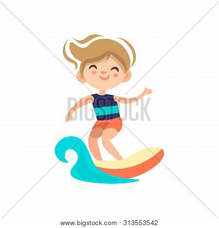 Kid Surfing Around Blue Ocean Wave, Cartoon Vector Illustration, Isolated On White Background. Littl