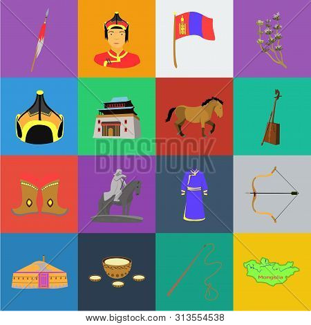 Country Mongolia Cartoon Icons In Set Collection For Design.territory And Landmark Bitmap Symbol Sto