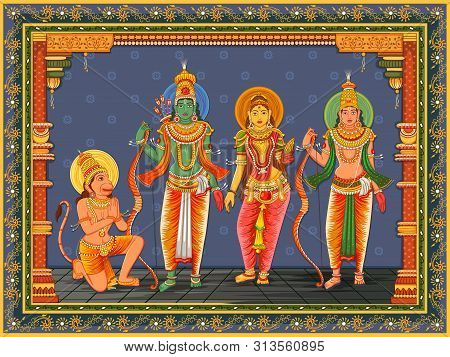 Vector Design Of Statue Of Indian God Rama, Laxmana, Sita And Hanuman With Vintage Floral Frame Back