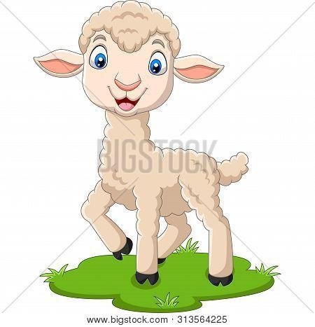 Vector Illustration Of Cartoon Happy Lamb On The Grass