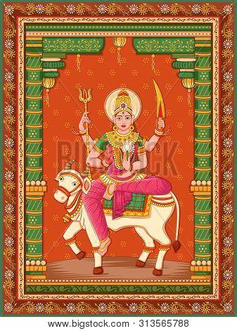 Vector Design Of Statue Of Indian Goddess Shailaputri Sculpture One Of Avatar From Navadurga With Vi