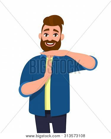 Portrait Of Young Bearded Man Showing Time Out Hand Gesture. Trendy Person Making Stop Sign With Han