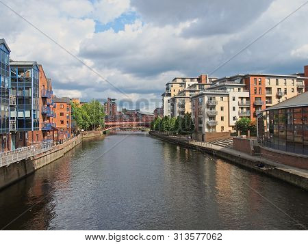 Leeds, West Yorkshire, United Kingdom - 12 July 2019: A View Along The River Aire In Leeds With Wate