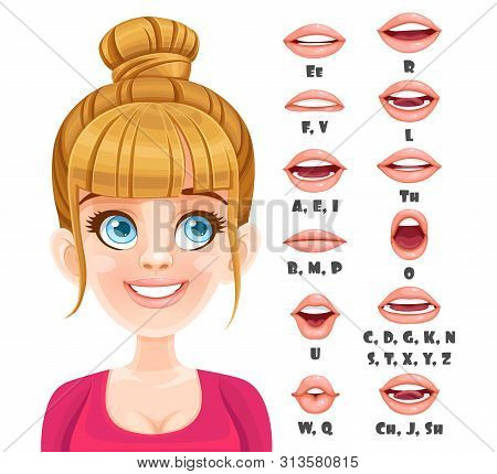 Cute Blond Woman Talking Mouth Animation. Female Character Speak Mouths Expressions