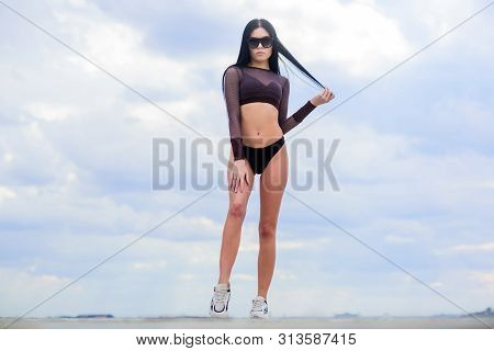 Torso. Perfect Body Torso With No Cellulite And Fat. Freedom. Sensual Girl In Underwear Lingerie And