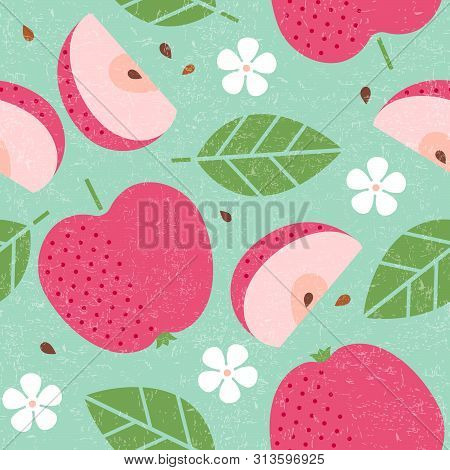 Seamless Pattern. Red Apple Juicy Fruits Leaves And Flowers On Shabby Background. Sliced Fruit. Cut