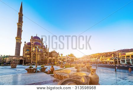Al Mustafa Mosque and Main square in Old Town of Sharm El Sheikhi n Egypt