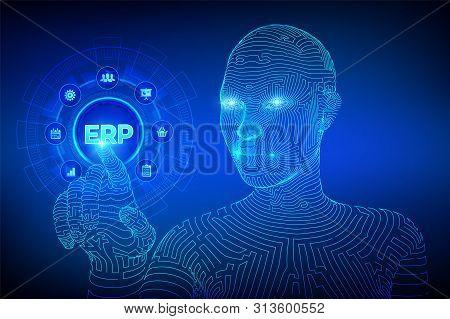 Erp. Enterprise Resource Planning Business And Modern Technology Concept On Virtual Screen. Corporat