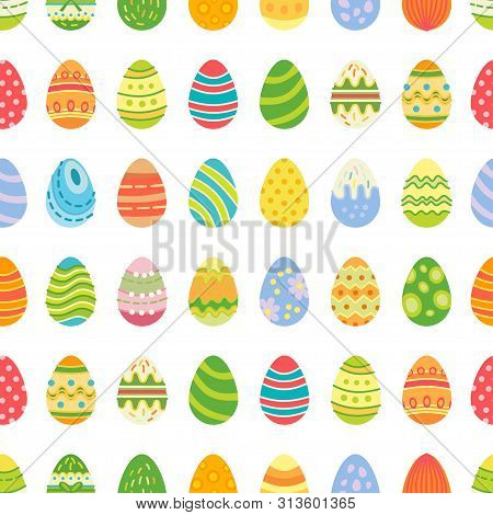 Easter Eggs Seamless Pattern. Holiday Vintage Background