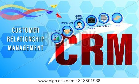 Crm. Customer Relationship Management. Chart With Keywords And Icons On On A Blue Background With He