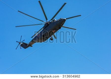 Moscow, Russia - May 09, 2014: Worlds Largest Heavy Multirole Transport Helicopter Mi-26. Aviation P
